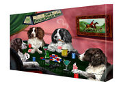 Home Of English Springer Spaniel Dogs Playing Poker Canvas Wall Art
