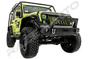 Front Bumper+fog Light Hole+ Winch Plate+winch Cover Fit 07-18 Jeep Jk Wrangler