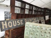 C1900-10 House Painting And Glazing Wooden Antique Sign 16and039 X 15 X 1 Black-white