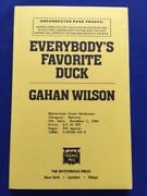 Everybodyand039s Favorite Duck - Uncorrected Proof Signed By Gahan Wilson