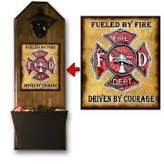 Firefighter Bottle Opener And Cap Catcher - Wall Mounted - Usa Vet Company