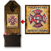 Firefighter Bottle Opener And Cap Catcher - Wall Mounted - Sold Pine