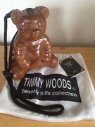Vintage Timmy Woods Beverly Hills Collection Carved Wooden Teddy Bear Purse