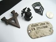 Wwii Military Lot / Dog Tag / Victory Pin / Marines Eagle Anchor Globe / Strips