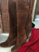 Beautiful Suede Chestnut Brown Fringe Louboutin Boots... Mint Condition