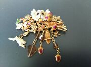 Vintage Kirks Folly Owl Pin Brooch With Dangling Rabbit Dragonfly And Acorns