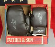 Vintage National All American Boxing Gloves Father And Son Set New In Original Box