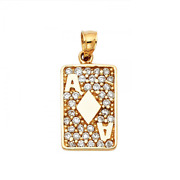 14k Solid Yellow Gold Cubic Ace Of Diamonds Poker Card Pendant - Necklace Charm