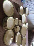 Vtg Of 36pc. Tst Co.replacement Dishes Cream And Ivory With Gold Green Flowers