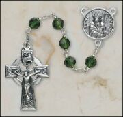 St Patrick Rosary W/ Emerald Crystal Beads Celtic Crucifix