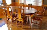 Price Reduced. Antique Oak Pedestal Table With 3 Leaves And 6 Matching Chairs.