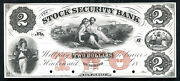 1800andrsquos 2 The Stock Security Bank Hackensack Nj Obsolete Proof Gem Unc