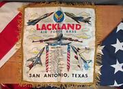 Vintage Us Air Force Lackland Base Tx Forget Me Not Sweetheart Handkerchief Usaf