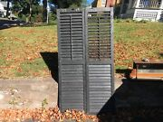Pair Victorian Louvered House Window Shutters Black Paint Surface 71.5 X 19