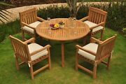 Dsdv Grade-a Teak Wood 5pc Dining 52 Round Table 4 Arm Chair Set Outdoor Patio