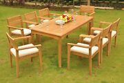 Dsmt Grade-a Teak Wood 9pc Dining 71 Rectangle Table 8 Stacking Arm Chair Set