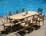 Travota Grade-a Teak 9pc Dining 94 Oval Table 8 Stacking Arm Chair Set New