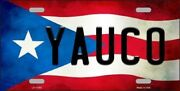 Yauco Puerto Rico State Flag Background Novelty Metal License Plate Tag
