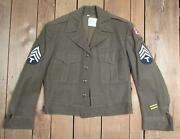 Vintage Wwii Us Army Wool M-1943 Field Jacket Military 1940s Patches Sz.34 Nice