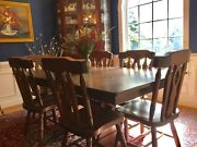 Trestle Amish Style Solid Pine Antique Reproduction Dining Table With 4 Leaves