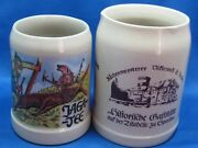 Two Antique German Beer Mugs Hand Painted Engraved And Marked 0.25 L And 0.4 L Nice