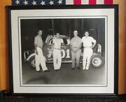 Vintage 1950s Auto Racing Track Photograph Whites Texaco Tommy Campbell 16x20 2