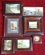 Collection Of 8 Miniatures. Landscapes. Oil On Canvas. Elisa Lagoma. 1944.