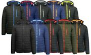 Menand039s Heavyweight Puffer Jacket With Contrast Color Trim And Detachable Hood New