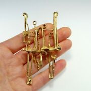 1970s Brutalist Modernist Pendant 925 Sterling Silver Gold Plated Space Jewelry