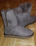 Ugg Bailey Button Ii Fur Lined Boots Size 7 Grey New