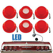 64 Chevy Impala Led Rear Red Tail And White Back Up Light Lens W/ Flasher Set Of 6