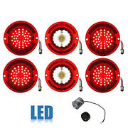 63 Chevy Impala Led Rear Red Tail And White Back Up Light Lens W/ Flasher Set Of 6