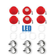 64 Chevy Impala Led Tail And Back Up Light Lenses W/ Chrome Trim And Gasket Set Of 6