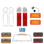 67-68 Chevy Gmc Truck Led Red And Amber Tail Park License Light Lamp Lenses Set Nh