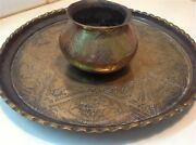 Antique Judaica Lot Set Of Bezalel Copper Tray Saucer And A Cup M1063