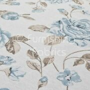 White Blue Floral Flowers Pattern Soft Woven Chenille Quality Upholstery Fabric