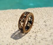 Jack Daniels Whiskey Barrel Wood And Ebony Wood Resin Ring Lined With Barrel Wood