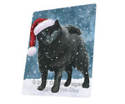 Let It Snow Christmas Holiday Schipperke Dog Woven Throw Sherpa Blanket T28