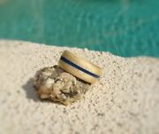 Curly Maple Bentwood Ring With Blue Lapis Inlay - Wood Ring - Handmade To Order