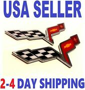 🇺🇸 2x Pieces Corvette Cross Flags Emblem Hood Sign Decal Letters Fit All Cars