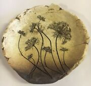 Ceramic Clay Pottery Impression Signed Artist Plate Decor Organic Primitive Nice