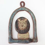 David Stewart Signed Vintage Art Pottery Lion Wall Hanging Mid Century 7x4 3/4