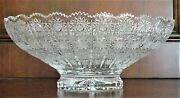 Bohemian Czech Vintage Crystal 13 Round Bowl Hand Cut Queen Lace 24 Lead Glass