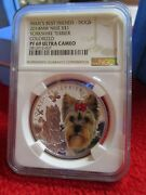 Niue 2014 1 Mans Best Friends Dogs Yorkshire Terrier Ngc Pf69 .999 Silver Coin
