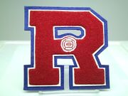 New Vintage Red Blue Letterman Letter Jacket Chenille Varsity 5.5 Volleyball