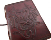 Handmade Vintage Antique Looking Genuine Double Dragon Leather Bound Journal