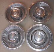 1963 - 1964 Cadillac Hubcap And Crest Original Wheelcover Set 4 Hubcaps 63 64
