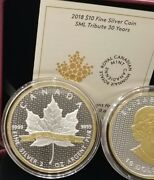 1988-2018 Iconic Sml 2oz Pure Silver Maple Leaf Gold-plated Proof 10coin Canada