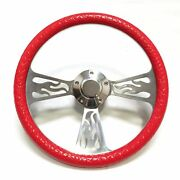 Ez-go Golf Cart 14 Textured Red Half Wrap Steering Wheel W/ Horn And Adapter