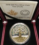 2018 Tree Of Life 1oz Pure Silver Gold-plated Proof 20 Coin Canada
